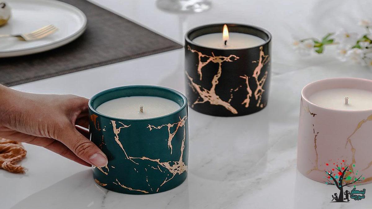 شمعة رخامية معدنية